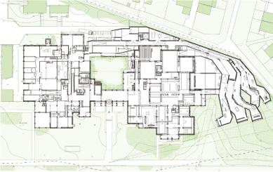 Rozšíření muzea moderního umění - Půdorys 1.np - foto: Manuelle Gautrand Architecture
