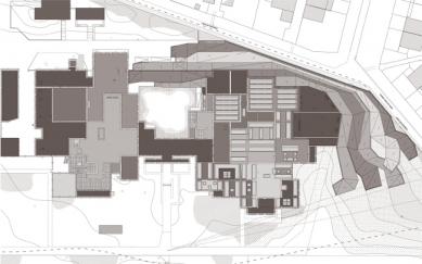 Rozšíření muzea moderního umění - Výkres střechy - foto: Manuelle Gautrand Architecture