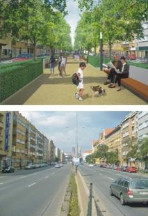 Humanizace pražské magistrály vúseku Nuselského mostu a ulice 5. května - VARIANTA MĚSTSKÝ BULVÁR - ulice 5. května - foto: Atelier K2