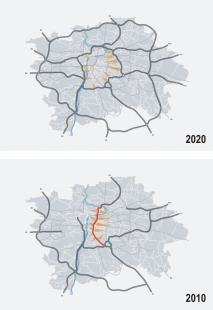 Humanizace pražské magistrály vúseku Nuselského mostu a ulice 5. května - DOPRAVNÍ SCHÉMA PRAHY - foto: Atelier K2