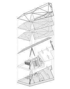 Krkonošské centrum environmentálního vzdělávání (KCEV) - Axonometrické schema jednotlivých částí budovy - foto: © Petr Hájek Architekti