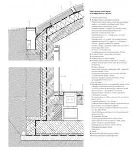 Krkonošské centrum environmentálního vzdělávání (KCEV) - Detail napojení spodní stavby na svislé konstrukce a střechu - foto: © Petr Hájek Architekti