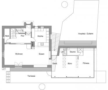 Folded Corten House - Půdorys přízemí - foto: x architekten