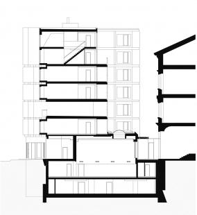 Bytový dům s tělocvičnou - Řez