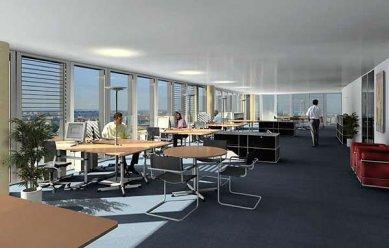 Messeturm - Vizualizace kancelářského patra - foto: © Morger+Degelo