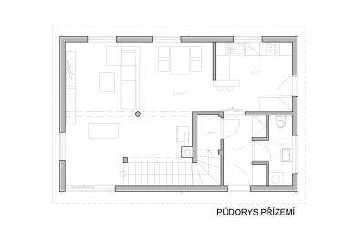 Rodinný dům Horažďovice  - Půdorys 1NP