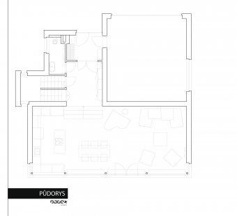 Interiér rodinného domu Na Hvězdárně - Půdorys 1NP