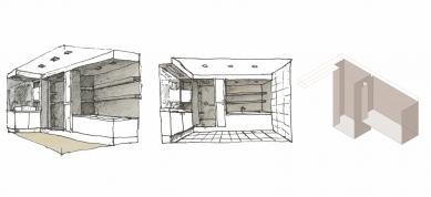 Interiér bytu v Praze 12 - Schéma řešení koupelny - foto: Martin Čeněk