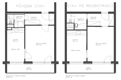 Rekonstrukce bytu v panelovém domě v Praze na Pankráci - Půdorys - původní / nový stav