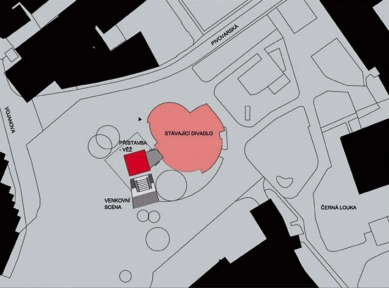 Přístavba Divadla loutek Ostrava - Situace - foto: MgA.Bronislav Stratil
