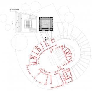 Přístavba Divadla loutek Ostrava - Půdorys 1.np - foto: MgA.Bronislav Stratil