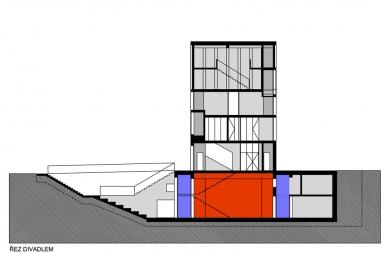 Přístavba Divadla loutek Ostrava - Řez - foto: MgA.Bronislav Stratil