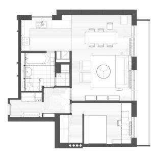 Rekonstrukce a interiér panelového bytu - Půdorys - návrh