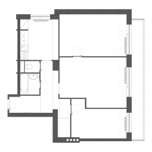 Rekonstrukce a interiér panelového bytu - Půdorys - původní stav