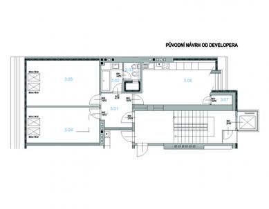 Půdní byt v Bubenči - Půdorys - původní návrh od developera - foto: Archiv atelier KLANC
