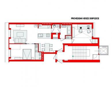 Půdní byt v Bubenči - Půdorys - provedená verze - foto: Archiv atelier KLANC