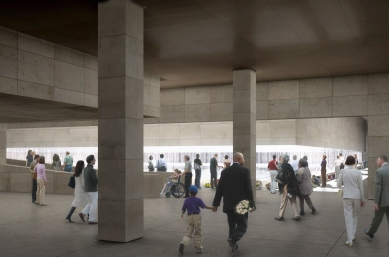 Národní památník 11. září - foto: Vizualizace vítězného návrhu, který ještě počítal s průběžným ochozem v podzemí.