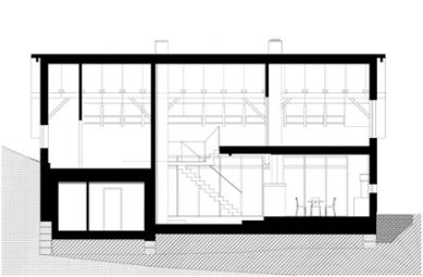 Rekonstrukce domu v Českém ráji  - podélný řez