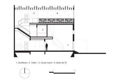 Interiér baru a čajovny Celeste - řez