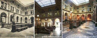 Rekonstrukce pobočky České spořitelny  Paláce Rytířská 29 - Porovnávací fotografie dvorany