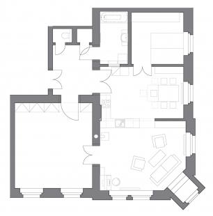Rekonstrukce bytu v Děčíně - Půdorys - 1. etapa - foto: 3+1 architekti
