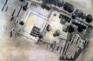 Klášterní zahrady v Litomyšli - soutěž - axonometrie