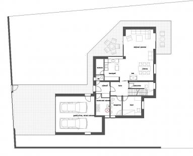Rodinný dům v Kunraticích - Půdorys 1NP - foto: Architektura s.r.o.