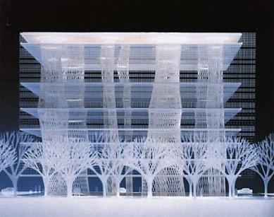 Mediatéka v Sendai - Model Mediatéky v Sendai z roku 1995 věnovaný newyorské MoMA architektem Toyo Ito na poctu Philipu Johnsonovi. - foto: © MoMA, 1995