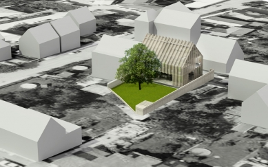 Dům - zahrada vDolních Chabrech - Zákres do leteckého snímku - foto: Šépka architekti