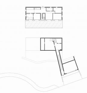 Dům ve svahu - Půdorys 2NP a 1PP - foto: Froelich & Hsu Architekten