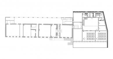 Přístavba základní školy v Hradištku - Půdorys - původní část a přístavba - foto: Architektura s.r.o.