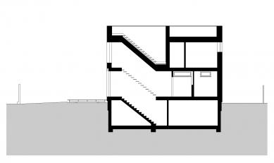 Rodinný dům na Točné - Podélný řez - foto: VYŠEHRAD atelier