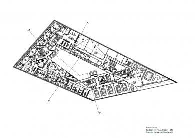 Sídlo časopisu Spiegel - Půdorys 1.np - foto: Henning Larsen Architects