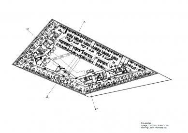 Sídlo časopisu Spiegel - Půdorys 13.np - foto: Henning Larsen Architects