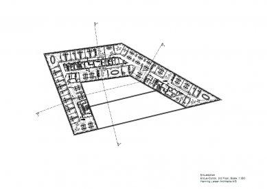 Sídlo časopisu Spiegel - Půdorys 3.np - foto: Henning Larsen Architects