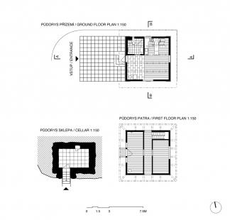 První dům - Půdorysy jednotlivých podlaží - foto: Ondřej Pleštil