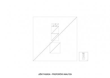 První dům - Jižní fasáda - proporční analýza - foto: Ondřej Pleštil