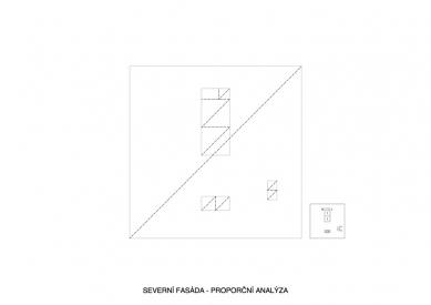 První dům - Severní fasáda - proporční analýza - foto: Ondřej Pleštil