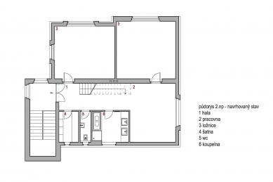 Půdní vestavba Řeporyje - Půdorys 2NP -  návrh - foto: Sborwitz architekti