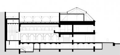 Kulturní dům Na Rybníčku v Opavě - Podélný řez sálem