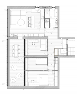 Rekonstrukce bytu v Krči - Půdorys - návrh - foto: Holiš + Šochová architekti