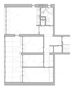 Rekonstrukce bytu v Krči - Půdorys - původní stav - foto: Holiš + Šochová architekti