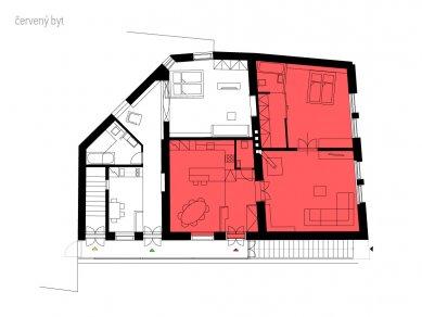 Rekonstrukce bytového domu v Litomyšli - Půdorys - čevený byt - foto: ellement