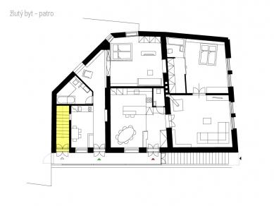 Rekonstrukce bytového domu v Litomyšli - Půdorys - Žlutý byt - nástupní podlaží - foto: ellement