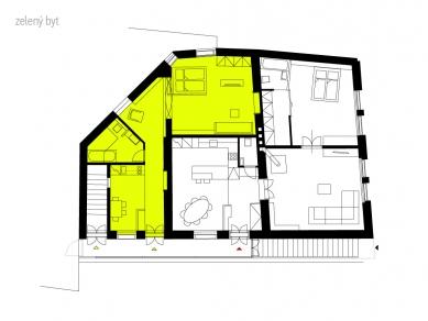 Rekonstrukce bytového domu v Litomyšli - Půdorys - Zelený byt - foto: ellement