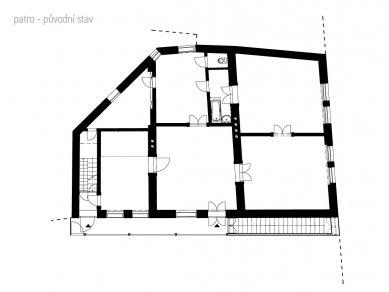 Rekonstrukce bytového domu v Litomyšli - Půdorys 2.NP - původní stav - foto: ellement