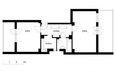 Interiér bytu v Holešovicích - Půdorys - původní stav - foto: Martin Neruda, Jana Šťastná