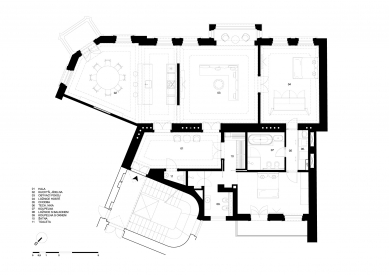 Sloučený nájemní byt v Praze 1 - Josefově - Půdorys - návrh - foto: ZNAMENÍ ČTYŘ - architekti