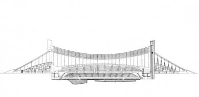 Olympijské haly - Podélný řez
