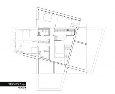 Interiér novostavby rodinného domu v Osicích - Půdorys 2NP - foto: OOOOX s.r.o.